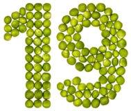 Arabisch cijfer 19, negentien, van groene die erwten, op wit worden geïsoleerd Royalty-vrije Stock Afbeeldingen