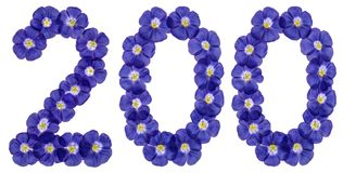 Arabisch cijfer 200, twee honderd, van blauwe bloemen van vlas, isol Stock Afbeeldingen
