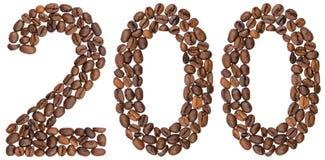 Arabisch cijfer 200, twee honderd, van geïsoleerde koffiebonen, Stock Afbeeldingen