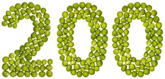 Arabisch cijfer 200, twee honderd, van groene die erwten, op wh worden geïsoleerd Royalty-vrije Stock Fotografie