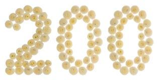 Arabisch cijfer 200, twee honderd, van roombloemen van chrysanth Stock Foto