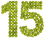 Arabisch cijfer 15, vijftien, van groene die erwten, op witte B worden geïsoleerd royalty-vrije stock afbeeldingen
