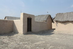 Arabisch dorp van oude modderhutten, in Fujairah, de V.A.E Royalty-vrije Stock Foto's