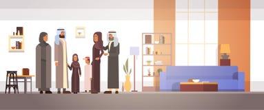 Arabisch Familiehuis, Arabische Ouders met Kinderen in Moderne Flat royalty-vrije illustratie