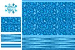 Arabisch idee vijfsterren blauw naadloos patroon Stock Afbeelding