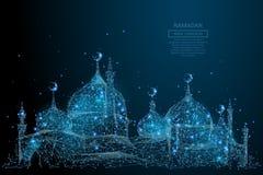 Arabisch moskee laag polyblauw vector illustratie