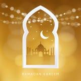 Arabisch venster met het silhouet van de moskee, de maan, de sterren en bokeh de lichten Groetkaart, uitnodiging voor Moslim vector illustratie