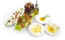Arabisch voedsel van Hommos, Labneh, Fattoush, & Data stock fotografie