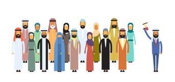 Arabische arabische Kollege-moslemische Geschäftsleute Team Group Geschäftsmann-Chef-Hold Megaphone Loudspeakers Stockfotos