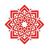 Arabische bloem in rode kleur Vectormandala bloemenontwerp Abstract rond symbool Oostelijk decoratief element Modern idee voor de royalty-vrije illustratie