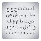 Arabische Buchstaben mit Zahlen lizenzfreie stockfotos