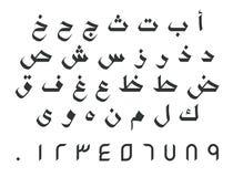 Arabische Buchstaben mit Zahlen lizenzfreies stockbild