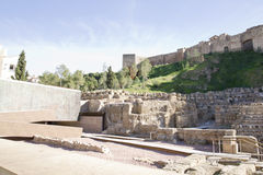 Arabische Castillo Malaga in dag Stock Afbeeldingen
