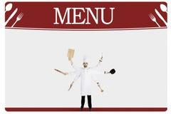 Arabische chef-kok met vele handen en menuraad Stock Afbeeldingen