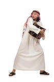 Arabische die mens het spelen trommel op wit wordt geïsoleerd Royalty-vrije Stock Afbeeldingen