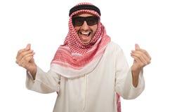 Arabische die zakenman op wit wordt geïsoleerd Stock Fotografie