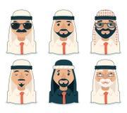Arabische eingestellte Vektor-Illustration Avatara-Geschäftsmann-Cartoon Design Characters Ikonen Stockbilder