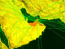 Arabische Emirate auf digital erzeugter Karte stock abbildung