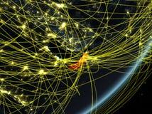 Arabische Emirate auf dunkler Erde mit Netz lizenzfreie abbildung
