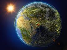 Arabische Emirate auf Erde mit Netz lizenzfreie abbildung