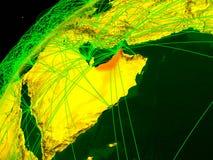 Arabische Emirate auf Erde mit Netz vektor abbildung
