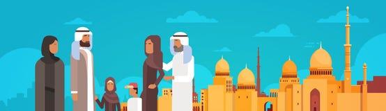 Arabische Familie over de Moslimcityscape de Moskeebouw van Nabawi royalty-vrije illustratie