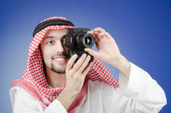 Arabische fotograaf in studio Stock Fotografie