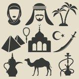 Arabische geplaatste pictogrammen Stock Fotografie