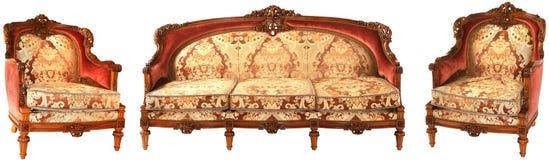 Arabische houten gouden-rode bank en twee leunstoelen Royalty-vrije Stock Foto's