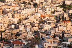 Arabische huizen op de helling van Onderstel van Olijven in Jeruzalem royalty-vrije stock afbeeldingen