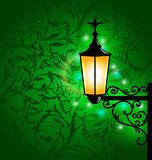 Arabische Lampe mit Leuchten, Karte für Ramadan Kareem Stockbilder