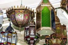Arabische lampen Marokkaanse traditionele herinneringen Stock Foto's