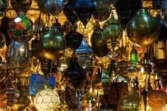 Arabische lampen in souks van Marrakech Stock Afbeelding