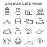 Arabische lijnpictogrammen Stock Foto