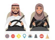 Arabische man en Arabische vrouw die een auto drijven Silhouet van een vrouw en een man die achter het wiel zitten stock illustratie