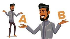 Arabische Mens die A vergelijken met B-Vector Evenwicht van Mening en Emoties Cliëntkeus Vergelijk Voorwerpen, Manieren, Ideeën G Stock Foto