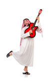 Arabische mens het spelen gitaar Stock Fotografie