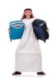 Arabische mens met bagage Stock Fotografie
