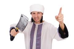 Arabische mens met bijl Stock Afbeelding