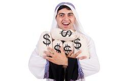 Arabische mens met geldzakken Royalty-vrije Stock Foto's