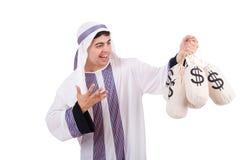 Arabische mens met geldzakken Stock Foto
