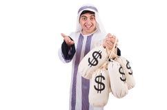 Arabische mens met geldzakken Stock Afbeeldingen
