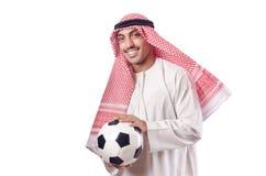 Arabische mens met voetbal Stock Foto's