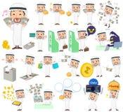 Arabische mens over het geld stock illustratie