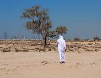 Arabische mens in woestijn stock afbeeldingen