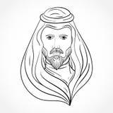 Arabische mens Zwart-witte hand getrokken vectorillustratie stock illustratie