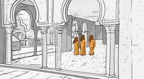 Arabische Mensen die aan Moskee komen die Moslimgodsdienst Ramadan Kareem Holy Month bouwen Royalty-vrije Stock Afbeelding