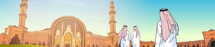 Arabische Mensen die aan Moskee komen die Moslimgodsdienst Ramadan Kareem Holy Month bouwen Stock Afbeeldingen