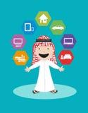 Arabische Mensenvector Financiële zekerheid en Bankwezenoplossingen Stock Afbeelding