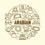 Arabische minimale dünne Linie Ikonen eingestellt Lizenzfreie Stockfotografie